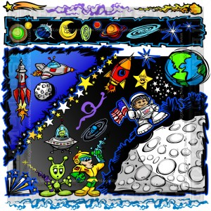 Space Vector Elements - Cartoon Clip Art