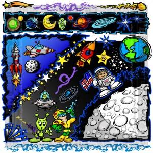 Space Vector Elements - Cartoon Clip Art