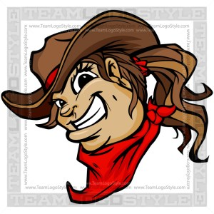 Smiling Cowgirl Mascot - Clipart Cartoon Image