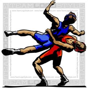 Wrestlers Silhouette Clip Art Image