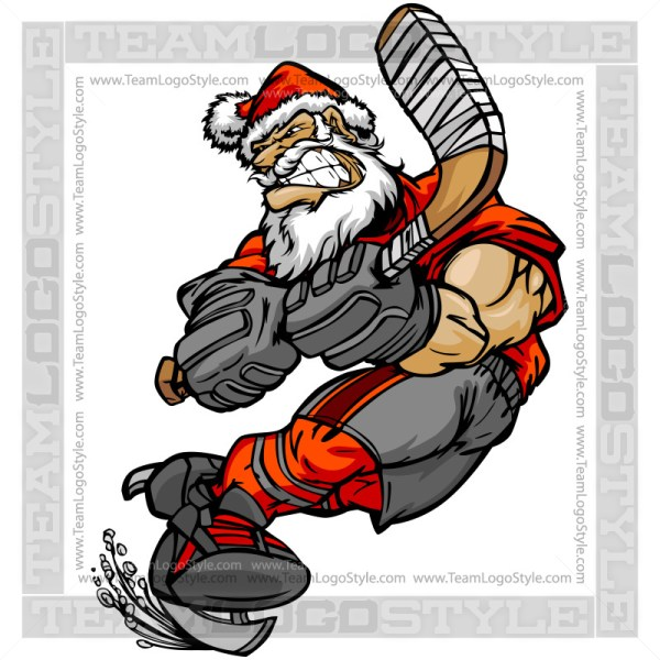 Santa Hockey Clip Art Cartoon