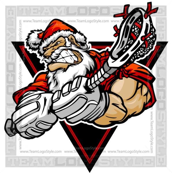 Santa Lacrosse Design - Christmas Clip Art