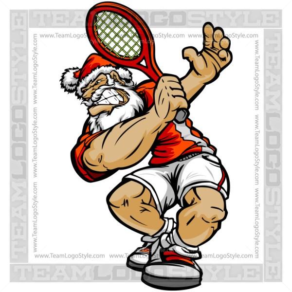 Santa Tennis Clip Art