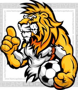 Cartoon Soccer Lion - Vector Clipart Image