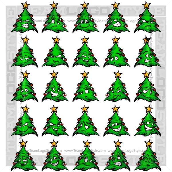 Christmas Tree Cartoon Faces Clip Art Cartoons