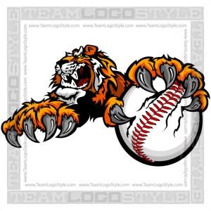 Tiger Clawing Baseball Clip Art Image