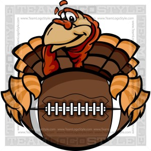 Thanksgiving Turkey Football - Clipart Cartoon