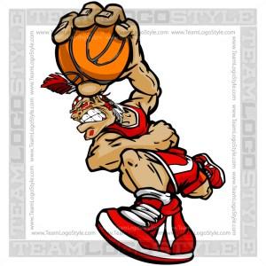 Basketball Indian Brave Cartoon