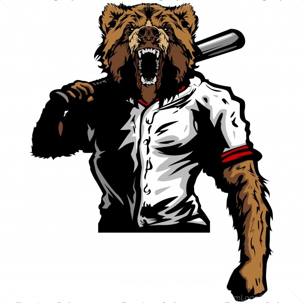 Bear Baseball Player Clip Art