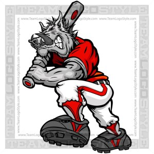 Cartoon Baseball Razorback