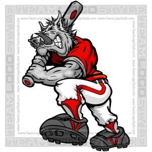 Cartoon Baseball Razorback