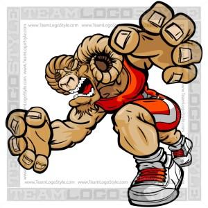Wrestling Bighorn Cartoon