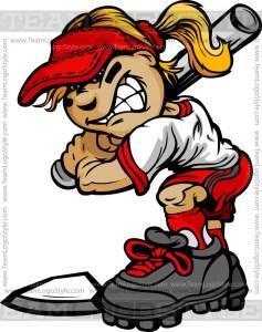Softball Cartoon Girl