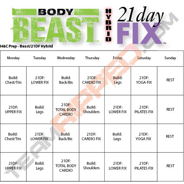 Free Beachbody Workout Downloads teamRIPPED - beast workout sheet