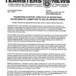 Teamsters Support Creation of Bipartisan House-Senate Committee to Solve Pension Crisis