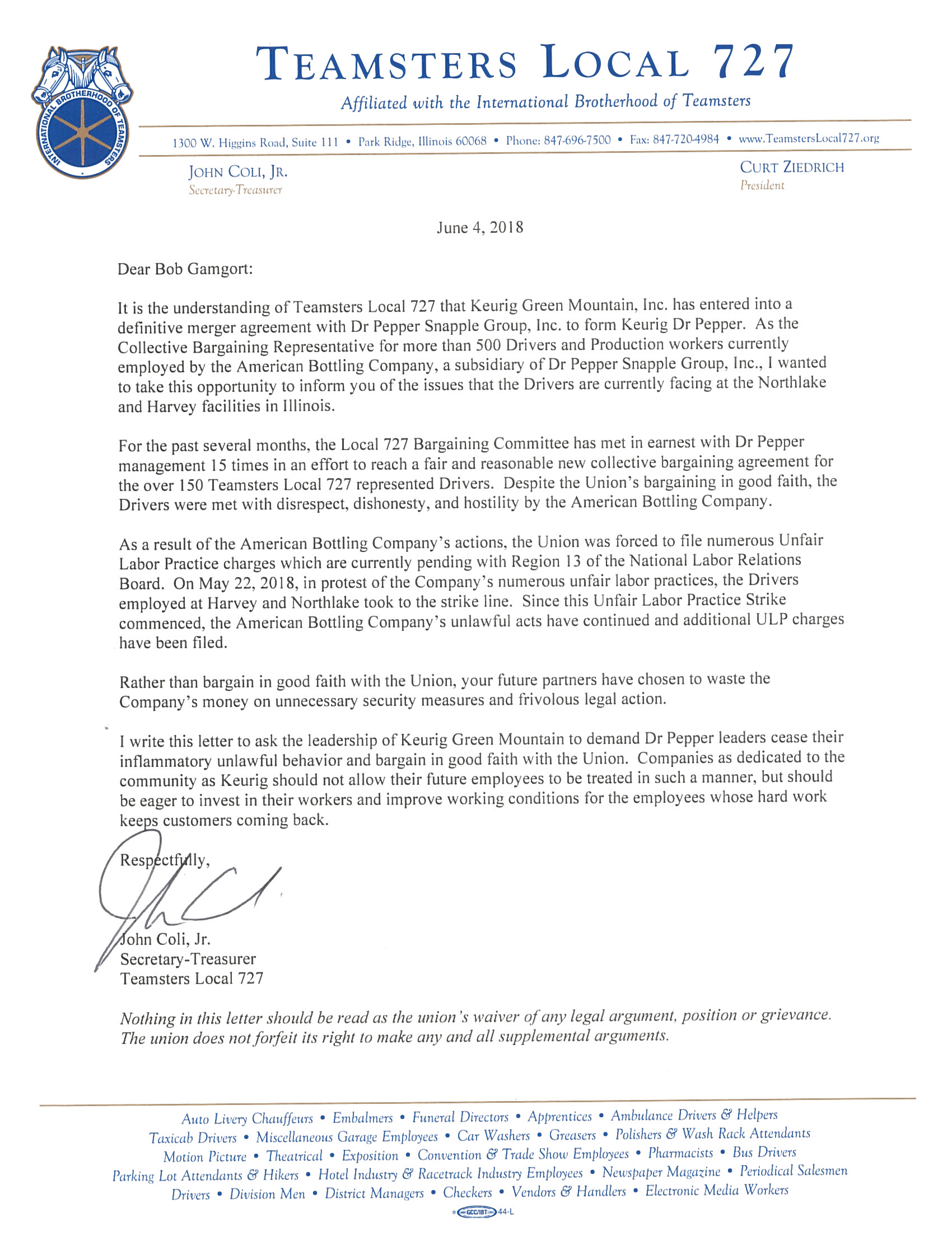 Letter to Bob Gamgort- CEO Keurig Green Mountain
