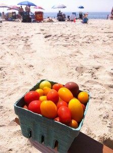 Jersey tomatoes on Cape May beach