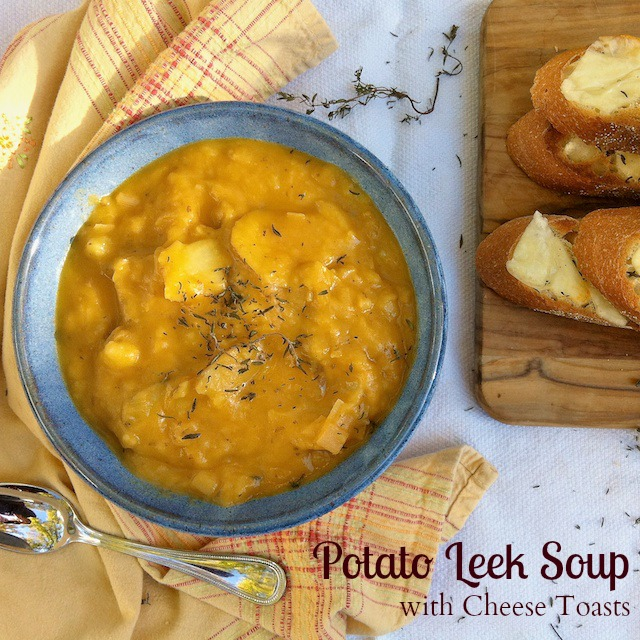 Potato Leek Soup & Smoked Cheese Toasts | Teaspoonofspice.com