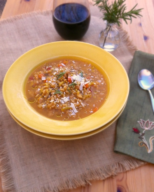 Chickpea Vegetable Farro Soup | Teaspoonofspice.com