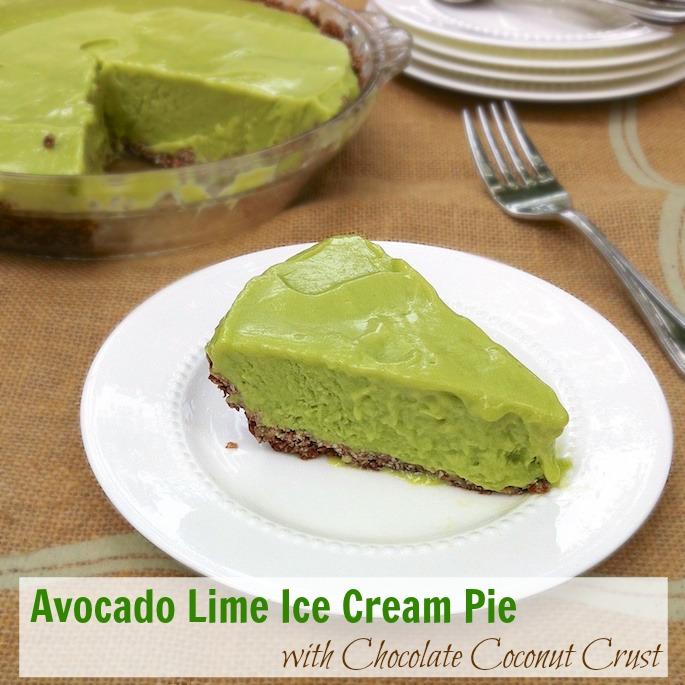 Avocado Lime Ice Cream Pie with Chocolate Coconut Crust | Teaspoonofspice.com