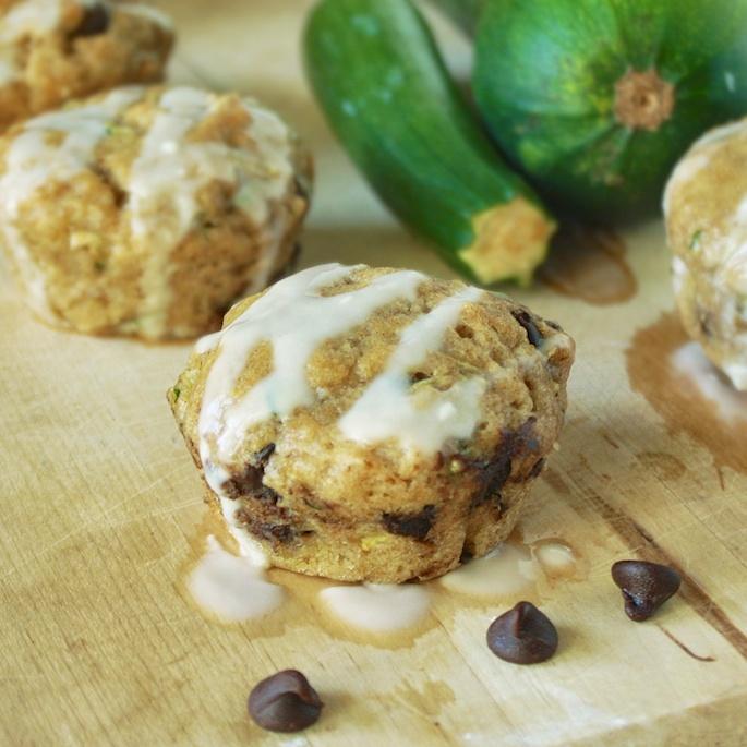 Chocolate Zucchini Muffins with Vanilla Glaze | Teaspoonofspice.com