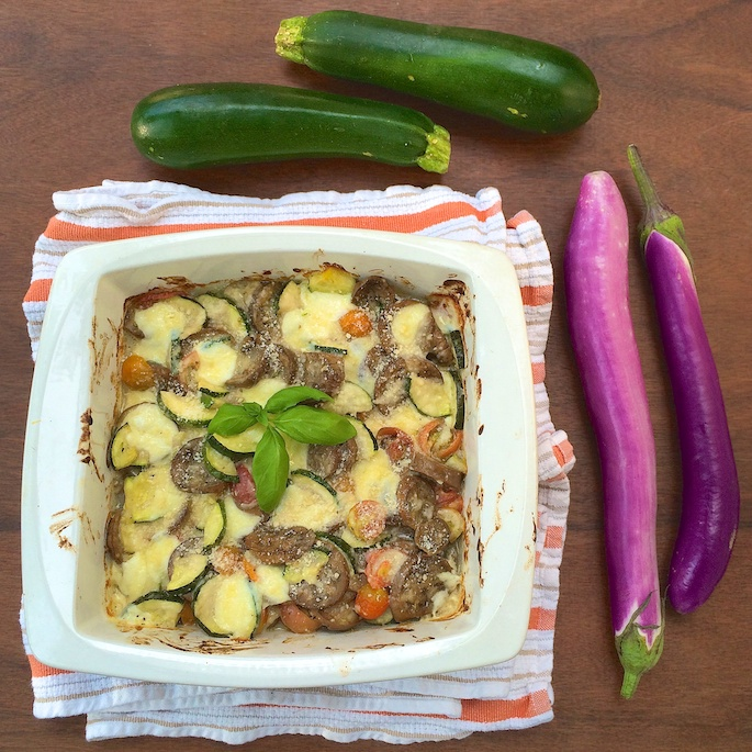Tomato Zucchini Eggplant Gratin |Teaspoonofspice.com