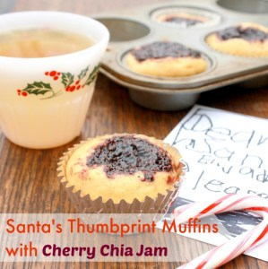 Santa Thumbprint Muffins <BR />with Cherry Chia Seed Jam