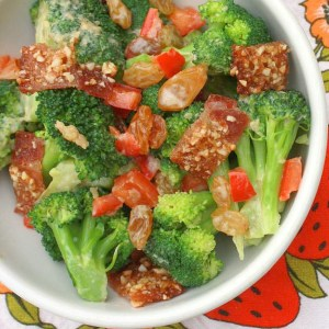 Praline Bacon & Broccoli Salad with Raisins<BR /> {for The Recipe ReDux}