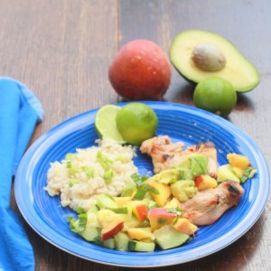 Lime Grilled Chicken with Avocado Peach Salsa