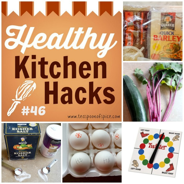 #HealthyKitchenHacks - Twister as Tablecloth, How to Store Whole Grains, How to Identify Hardboiled vs Fresh Eggs, Beet Bread, What's the difference between kosher salt and table salt | @tspcurry