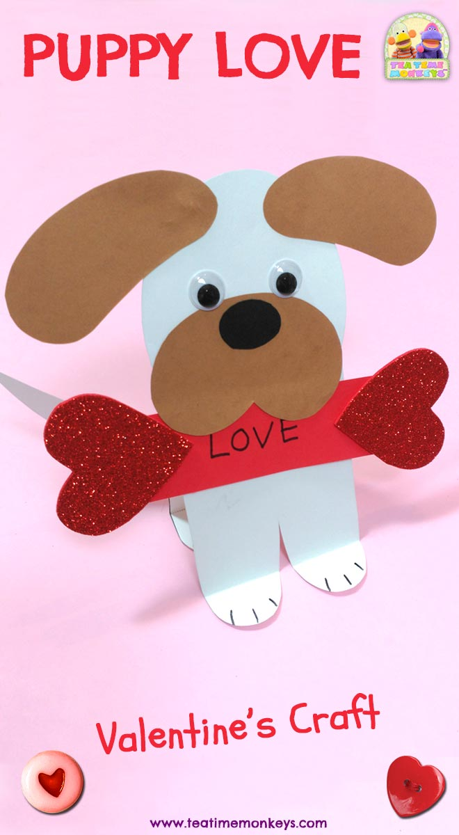 Puppy Love Easy Valentine Craft Tea Time Monkeys