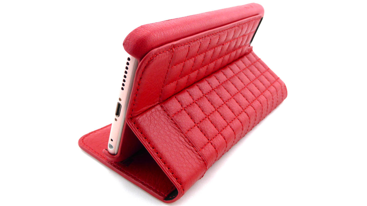 Isa Quilted Wallet by Sena for iPhone 6s Plus- Stand View