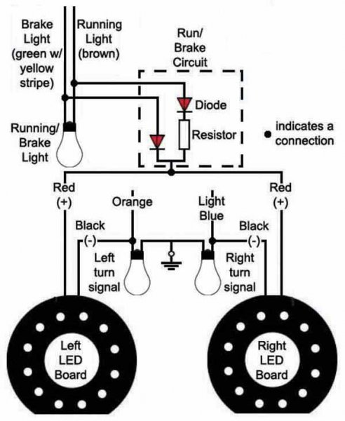 3 wire led tail lights del Schaltplan