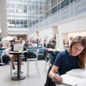 Students studying in the MSU Biomedical and Physical Science atrium.