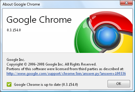 Google chrome 0.3.1541 Google Chrome Turns 2 : A Brief Flashback
