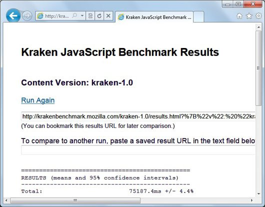 IE 9 beta kraken javascript benchmark image1 Opera 10.70 Beta Tops Kraken JavaScript Benchmark!