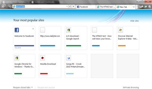 IE9 opened site status1 20 Amazing Features of Internet Explorer 9
