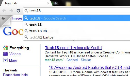 google chrome instant search image1 Is Google Integrating Instant Search in Chrome 8?