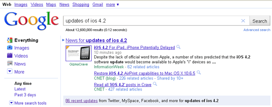 google search updates friendfeed myspace facebook image1 Google Adds Facebook, MySpace, FriendFeed To Real Time Updates