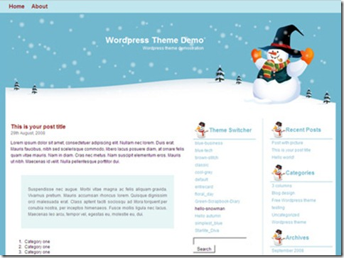 7 hello snowman WordPress Theme thumb 40+ Best Free Christmas WordPress Themes [Updated]