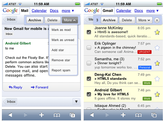 gmail mobile Gmail Web App For iPhone And Android Now In HTML5 And 44 Languages
