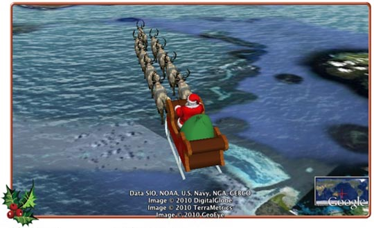 norad track santa on google earth1 With NORAD and Google Track Santa's Journey