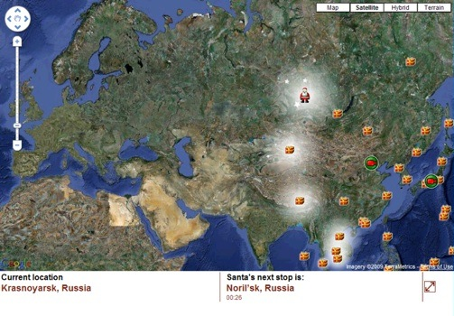 norad track santa on google maps