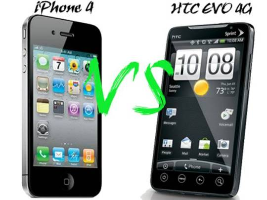 Apple iPhone 4 Vs HTC EVO 4G Comparison   Apple iPhone 4G Vs HTC EVO 4G!