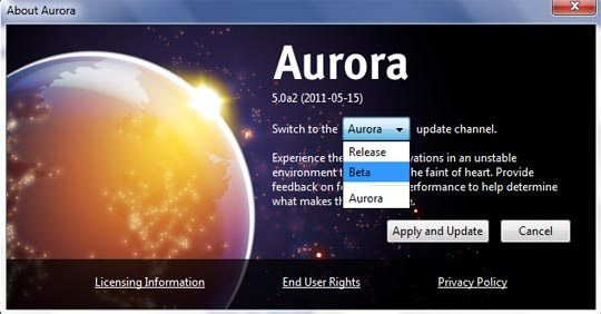 firefox aurora beta switcher image [How To] Download Firefox 5 Beta Before Official Release