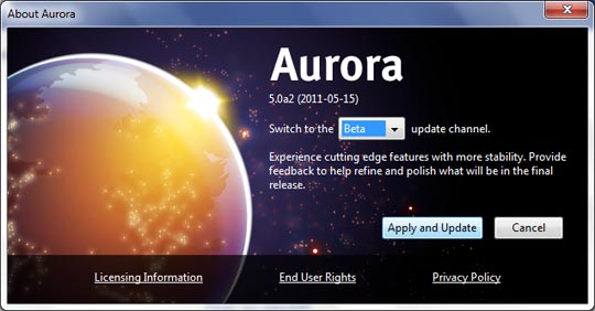 firefox aurora beta update image [How To] Download Firefox 5 Beta Before Official Release