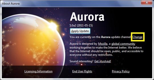 firefox aurora channel switcher image [How To] Download Firefox 5 Beta Before Official Release
