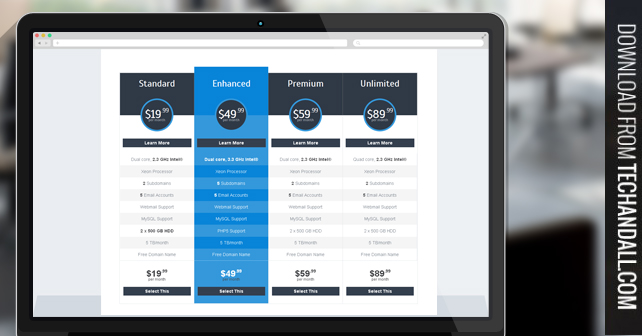 Clean CSS Based Pricing Table Tech  ALL - pricing table templates