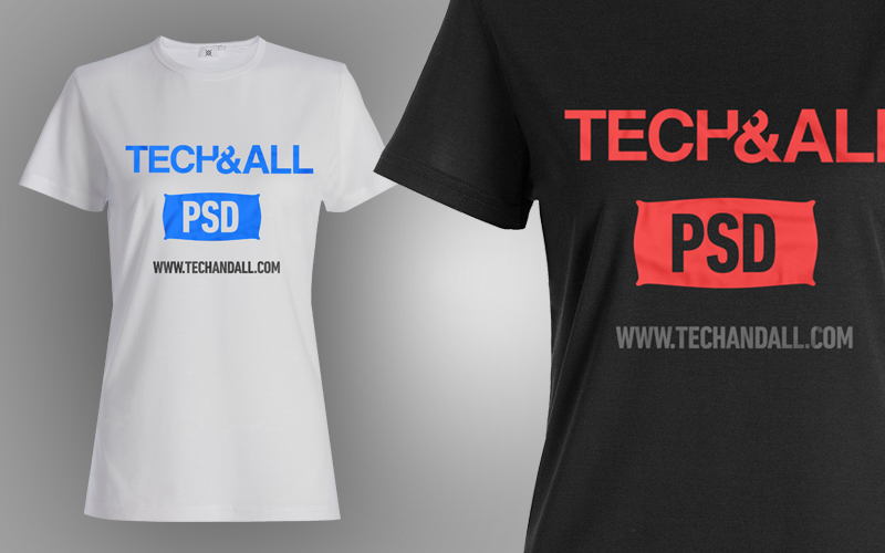 Female T Shirt Mockup v2 PSD Tech  ALL