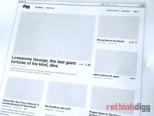 rethinkdigg - new digg design